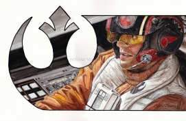 Poe Dameron, prints available: 4x6, 8x12, 11x17