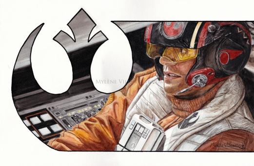 Poe Dameron, prints available: 4x6, 8x12, 11x17